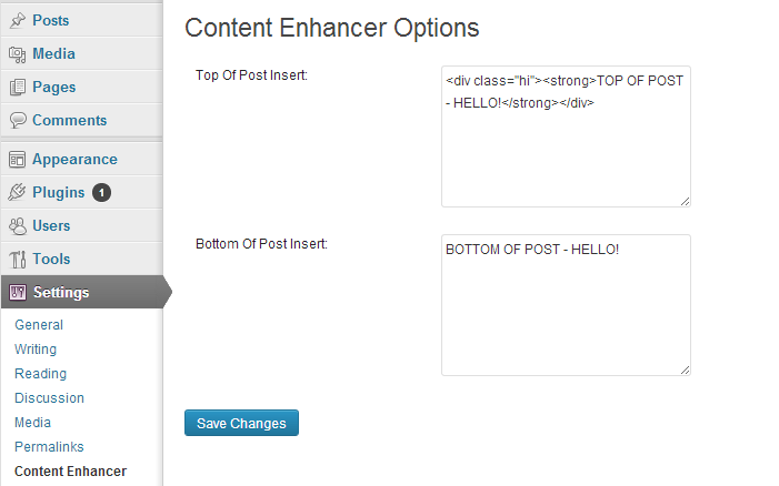 WP Plugin Options Settings | Twoggle