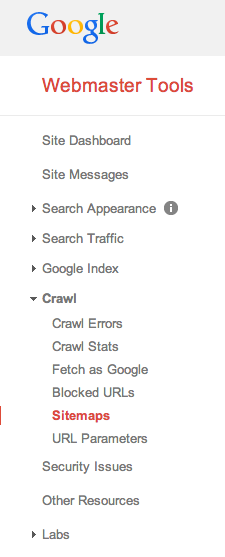 Sitemap section Google Webmaster Tools
