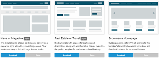 Zurb offers you a few good templates that act as starting points for your projects
