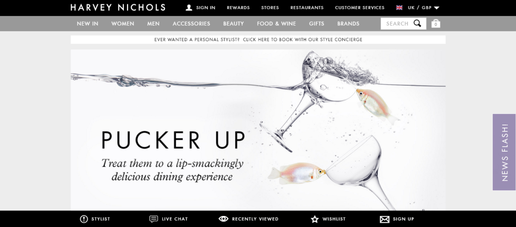 Harvey Nichols Magento Website Screenshot