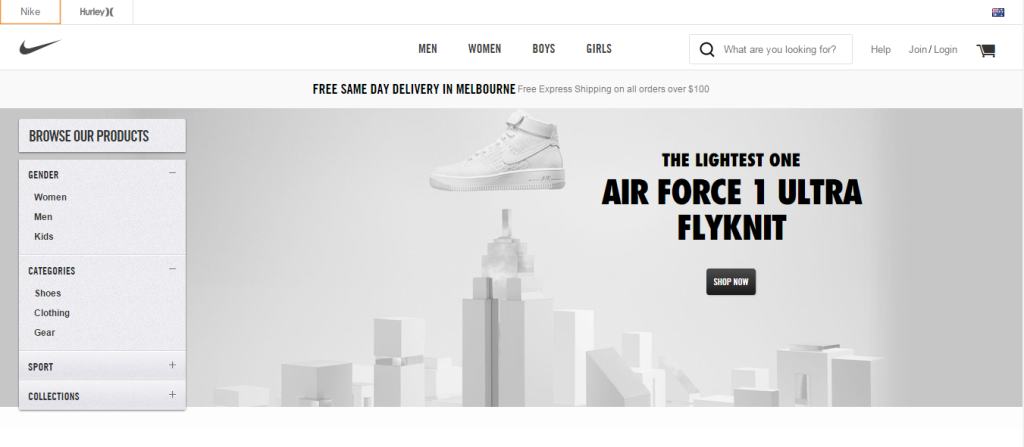 nike store magento website screenshot