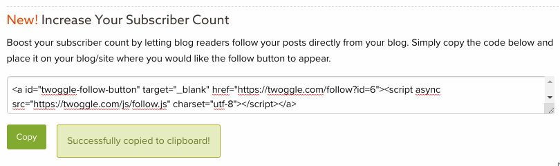Get Twoggle Follow Button Code