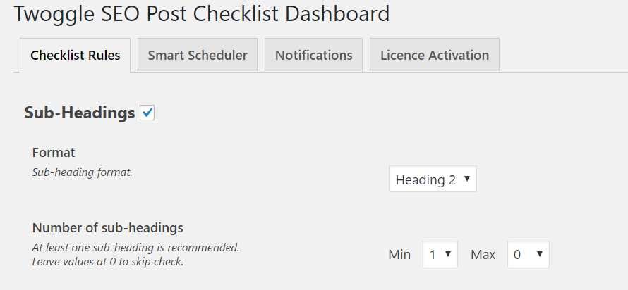 Sub Headings Checklist Settings